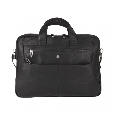 Geanta servieta/ de umar business casual Gabol, piele ecologica neagra, laptop 15,6 inch, colectia Report 410330