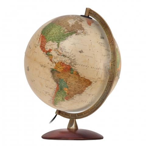 Glob geografic pamantesc iluminat Antiquus 30 cm