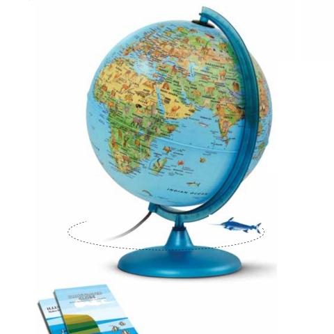 Glob geografic pamantesc iluminat Safari 25 cm