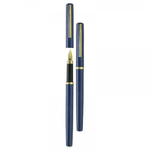 Stilou cu penita din iridiu aurit, albastru V3 SP-F